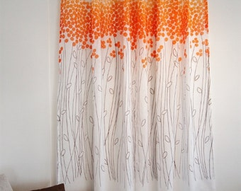 Lollipop Orange French Voile Sheer Drapery Panels Made-to-order/  Money Tree