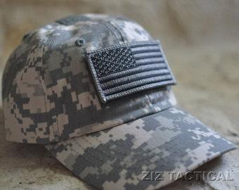ACU digital tactical operator USA flag hat