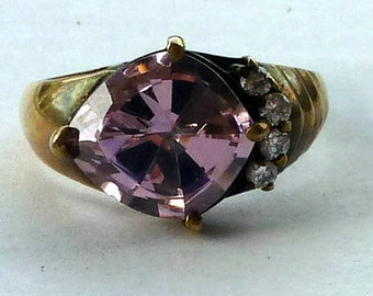 Pink Cubic Zirconia in Gold Washed Sterling Ring size 7.5