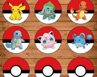 Pokemon Cupcake Toppers Red & White - Pokemon Stickers - Pokemon Party Favors - Pokemon Printables