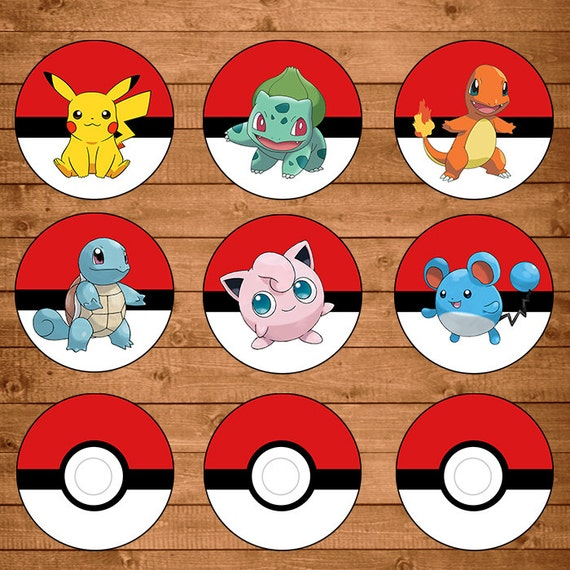 Pokemon Cupcake Toppers Red & White - Pokemon Stickers - Pokemon Party ...
