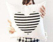 Heart Pillow Cover, Decorative Geometric Throw Cushion, Modern Cushion, Geometric Pillow, Black and White Style , Wedding Gift