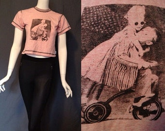 vintage 90's CROP TOP pastel pink pinstripe short sleeve cute tricycle graphic t-shirt