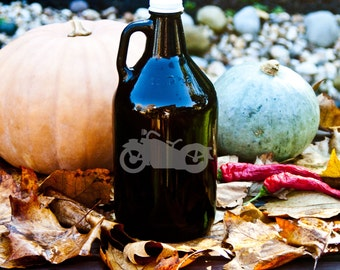 Growler with 60's style Motorcycle Etching 64oz Beer, Wine, Mead, or Whiskey