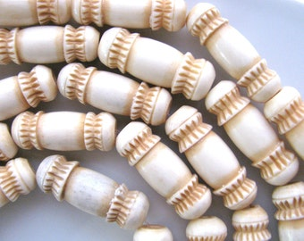 Carved bone beads, set of 5, 27 by 10mm - #56