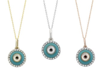 Tousi Jewelers Diamond Evil Eye Necklace- 0.10 ct in Real  Solid 14k Gold-Evil Eye Pendant-Evil Eye Jewelry