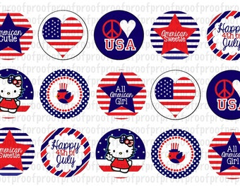 4th Of July Inspired Bottle Cap Images