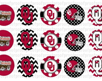 Oklahoma Sooners Inspired Bottle Cap Images