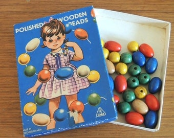 Vintage Polished Wooden Beads in lovely packaging 60s 70s