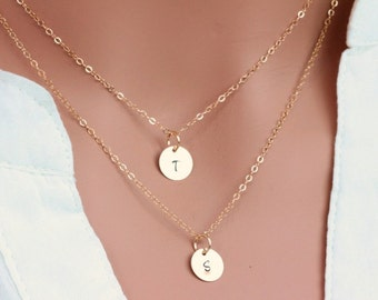 14k gold fill/ Sterling Silver  initial layer necklace, Personalized Initial Disc Necklace, Initial Layer Necklace. Layering Neckalce.
