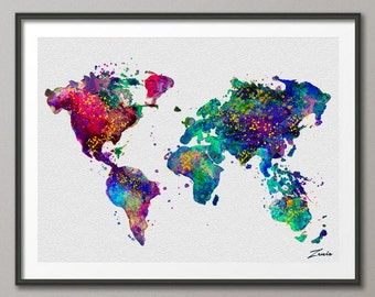 Watercolor World map watercolor poster watercolor art  watercolor map world map deocr print poster map decor watercolor world map A107-1