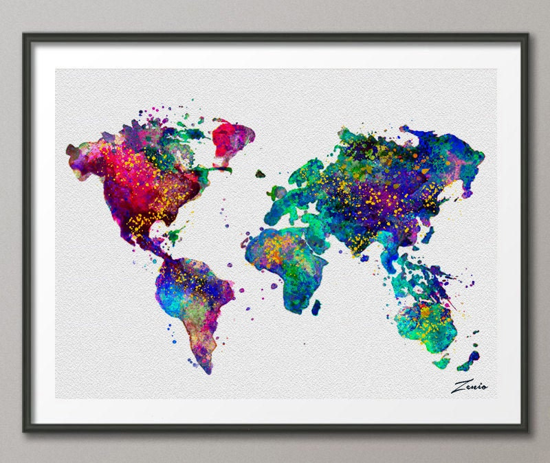 Watercolor World map watercolor poster watercolor art