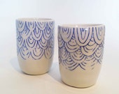 Set of 2 Handmade and wheel-thrown ceramic cup - decorated with mishima - home decor