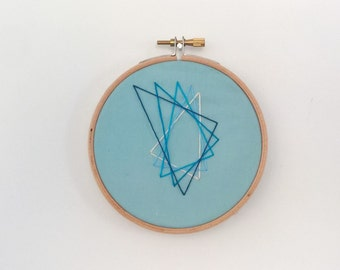 Geometric triangle design hoop embroidery