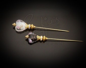 Golden Crown Hearts Hijab Pins - stick pins - cushion pins - shawl pins - Hat pins - favour - gift for her