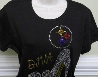 Pittsburgh Steeler Diva Rhinestone Tshirt