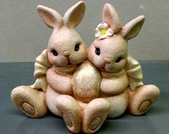 SALE-Easter Cuddle Bunnies--Heirloom Quality--Hand-painted Ceramic--Holiday Figurine Decor--Seasonal Figurine Decor--Home Decor--Patio Decor