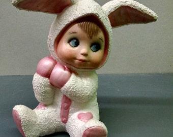 SALE--Cuddle Sweet Tot Bunny--Heirloom Quality--Hand-painted Ceramic--Holiday-Seasonal Figurine Decor--Home-Patio Decor