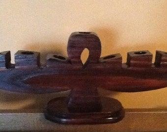Ankh Wooden Kinara for Kwanzaa. 50th Aniversary 10 % off Summer Sale