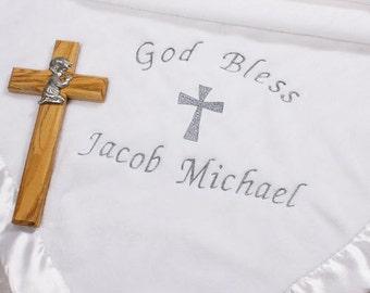 Embroidered Christening Blanket, Christening Blanket with Name, God Bless Blanket