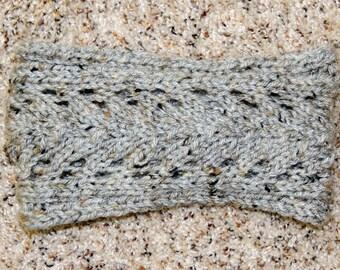 Hand knitted lace design grey tweed headband/earwarmer