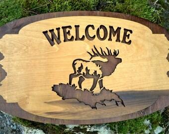 Wood Elk Welcome, Rustic Cabin Sign