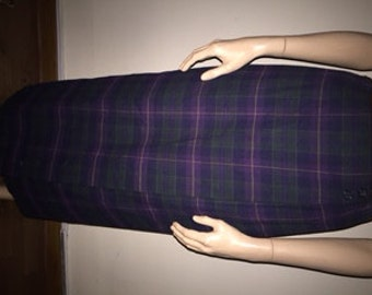 Green and Purple Plaid Skirt