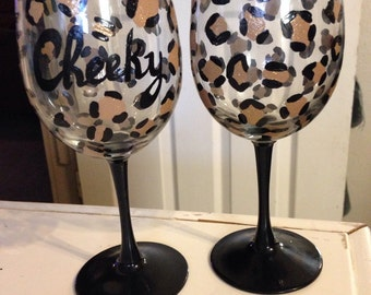 One Personalized or plain leopard print hand painted wine glass