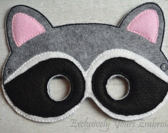 Raccoon Children's Mask  - Costume - Theater - Dress Up - Halloween - Face Mask - Pretend Play - Party Favor