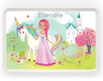 KIDS TRAY - Personalized Princess Unicorn tray for kids, Melamine