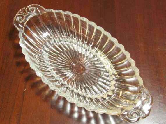 Antique Crystal Relish Dish Small Oval Ribbed Glass