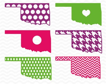 Oklahoma monogram pattern designs, SVG, DXF, EPS, Vinyl Cut Files for use in Silhouette Studio and Cricut Design Space.