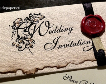 25 Classy, Old English Style, Renaissance, Vintage, Old fashioned, Personalized Wedding Invitations with wax seals