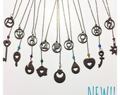 Astrological inner and outer Sailor senshi symbol lariat necklace