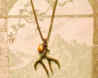 Wood Nymph // Antler and Pearl Necklace