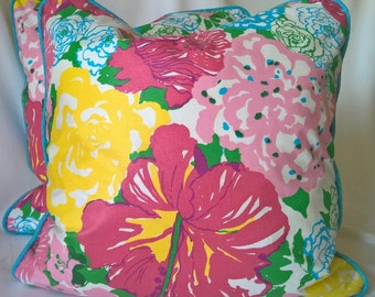 Lilly Pulitzer Lee Jofa Heritage Floral Pinks Blues! Custom Pillow, Throw Pillow, Decorative Pillow