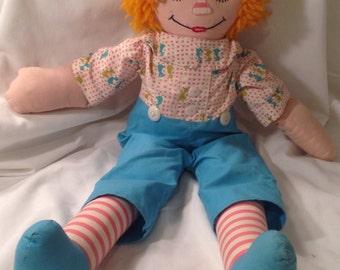 Vintage Handmade Stuffed Raggedy Andy Doll