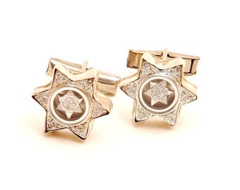 Set Of Cufflink Magen David Sterling Silver 925 With Crystal Gemstones