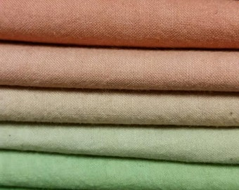"""Hand dyed cotton fat quarters for quilting, gradation of orange to green, """"Summer Meadow"""""""