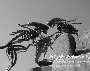 Metal art sculpture Alien - Scrap metal art