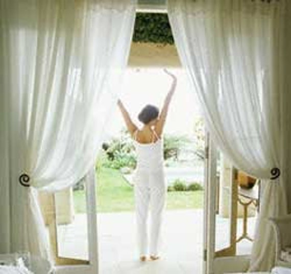 White Chiffon Curtain Sheer Window Dressing By