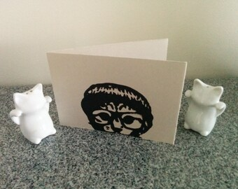 Blank Card Hand Stamped Hipster Cat Card