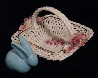 Vintage Capodimonte White Woven Basket with Pink Roses (#1084)