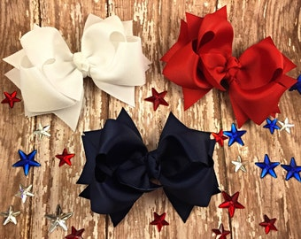 Red white and blue hair bows lot