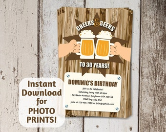 Cheers and Beers Invitation for Mens Birthday Party - digital file download - photo prints / card stock invite - 30th 40th 50th 60th 21st