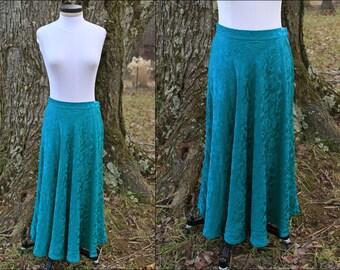 Vintage 100% Silk Emerald Green Skirt