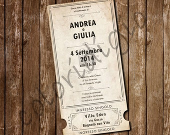 Participation movie ticket-style wedding Movie ticket wedding invitation