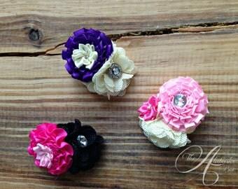Set of 3 Spring Blossom Carnation Hair Flowers on Alligator Clip