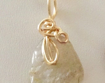 Off white wrapped petite sized Aventurine stone pendant necklace. Handmade jewelry, Fashion necklace, Gemstone jewelry