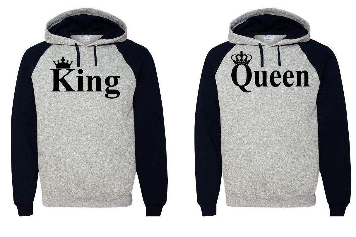 king queen hoodie couple soulmate sweatshirt by nycapparel. Black Bedroom Furniture Sets. Home Design Ideas